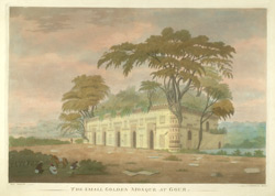 'The small Golden Mosque at Gaur.' From 'Views at Gaur', six aquatints by James Moffat after Henry Creighton, published by Moffat in Calcutta 1808.